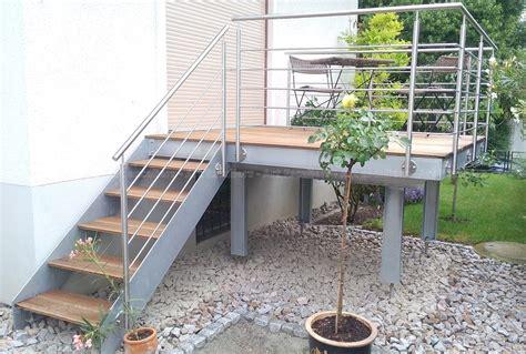 escalier exterieur galvanise droit marche bois garde corps inox 04 artescaliers escaliers