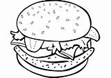 Burger Hamburger Coloring Pages Drawing Cheeseburger Printable Fries French Sketch Sandwich sketch template