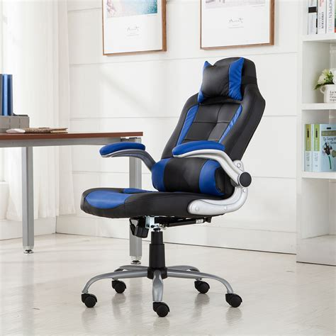 racing office chair reclining back padded headrest pu