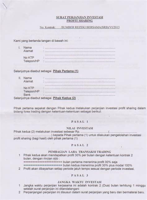 contoh surat perjanjian kerjasama investasi forex top