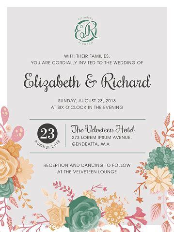 Floral Wedding Invitation Template Stock Illustration