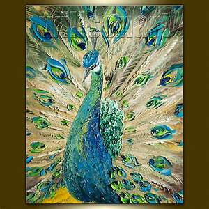 Modern Painting Peacock Oil Painting Textured Palette Knife