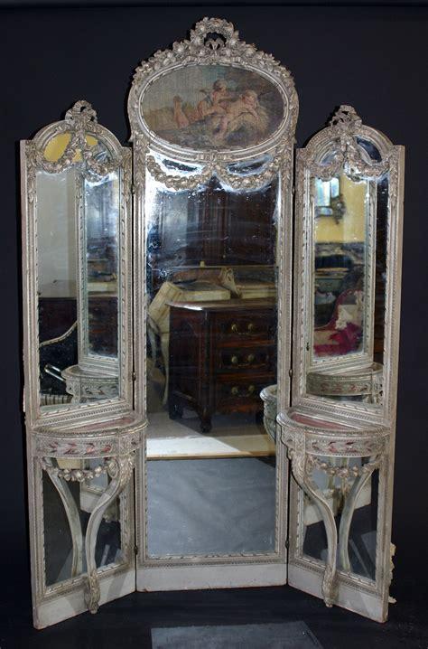 French, Louis XVI style tri-fold, full-length mirror