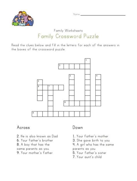 family crossword puzzle  images family worksheet