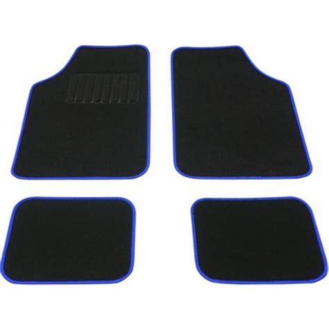 tapis voiture universel moquette noir surjet bleu feu vert