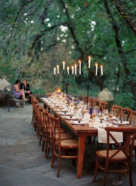 wedding table forest reception decor woodland candelabra decorations outdoor dinner woodsy savvy party event long candles ink tables settings menu