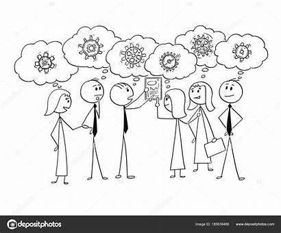 Together Team Working Cartoon Problem Drawing Teamwork