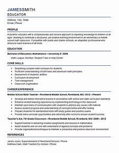 sample resume of a teacher in high school - middle school teacher resume example mathematics