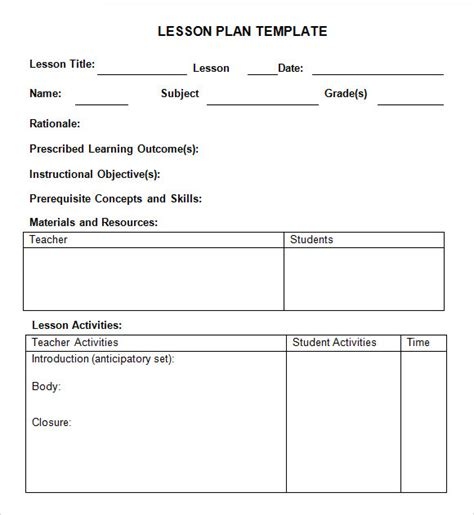 lesson plan template word 8 weekly lesson plan sles sle templates