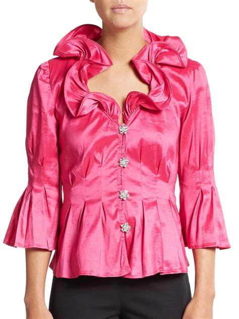 fuschia blouse chetta b ruffle neck blouse in pink fuschia lyst