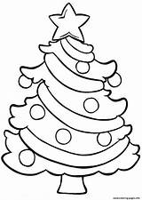 Coloring Easy Tree Christmas Pages Printable sketch template