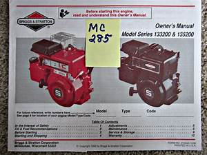 Briggs  U0026 Stratton Engine Owner U0026 39 S Manual Model Series
