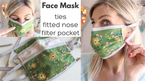 diy face mask  ties fitted nose  filter pocket