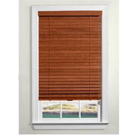 wood blinds lowes shop custom size now by levolor rustic oak wood 2 in slat