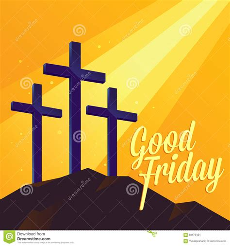 Good Friday Religious Background With Three Cross Stock
