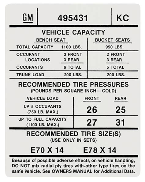 tire pressure monitoring 1974 pontiac gto user handbook gto tire pressure decal kc 495431 fits 1974 gto opgi com