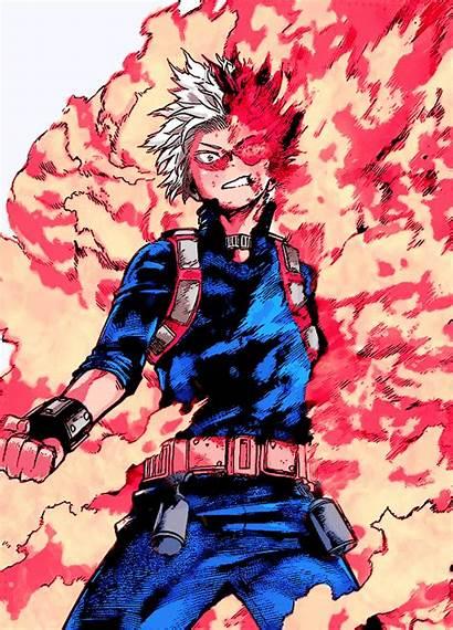 Todoroki Academia Hero Shoto Flames Anime Punch