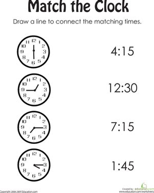 Match The Clock Ii  Worksheet Educationcom