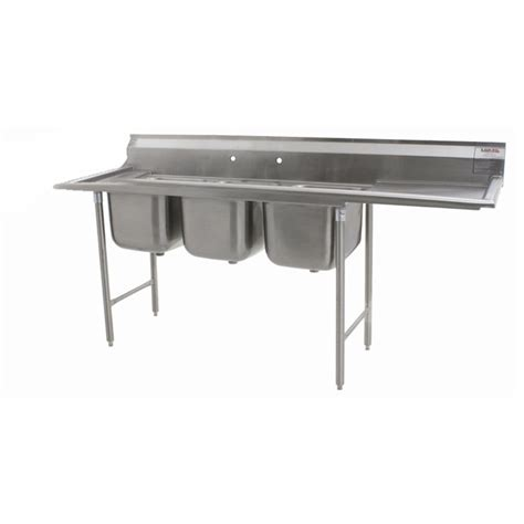 eagle 3 compartment stainless steel sink with drainboard