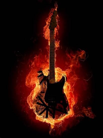 Fire Guitar Electric Metal Heavy Guitars Wallpapers