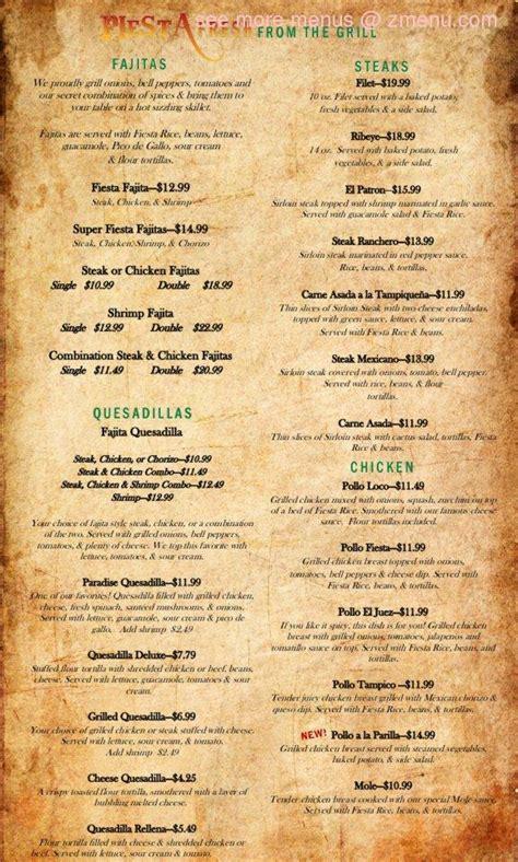 menu  la fiesta fresh mexican grill restaurant