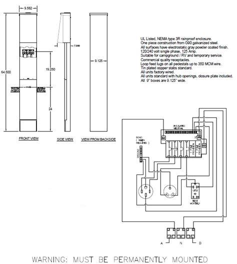 50 30 20 direct burial rv pedestal electrical box