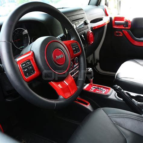 jeep rubicon steering wheel opar 3pcs set red steering wheel cover trim for 2011