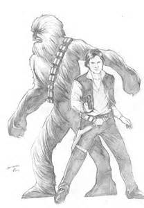 Star Wars Han Solo and Chewbacca Drawings