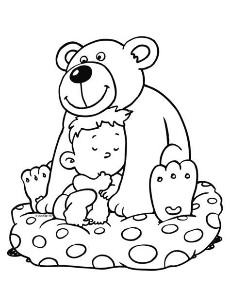 Kleurplaat Moederdag Teddybeer by Kleurplaat Baby Met Knuffelbeer Kleurplaten Nl