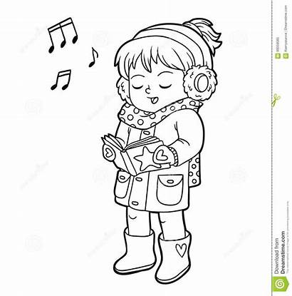 Song Singing Christmas Coloring Children Vector Cartoons