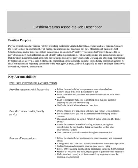 Cashier Description For Resume by Description Cashier Position Resume