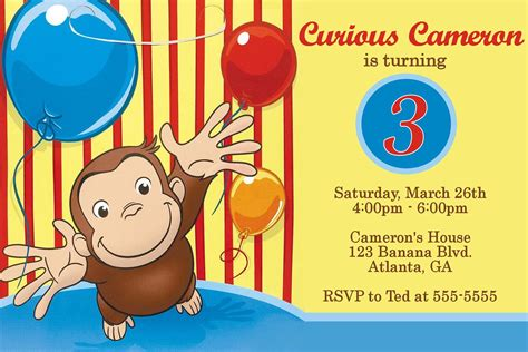 cool  template curious george personalized birthday