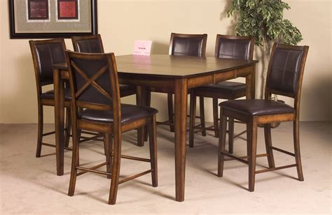 bar height table 6 chairs verona 7 pc counter height set in rustic oak table and 6