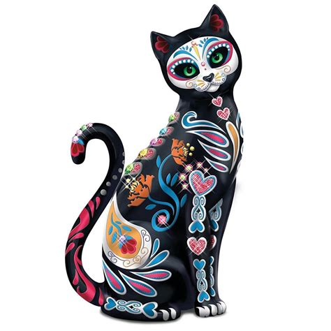 Cat Statue Sugar Skull Mexican Folk Art Kitty Day Of The