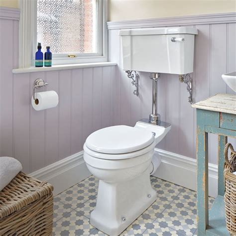 period style bathroom with lilac painted panelling and
