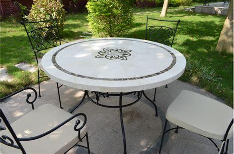 marbella table ronde 125cm en mosa 239 que emperador et travertin living roc