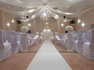 all white indoor wedding ceremony site demers banquet hall With indoor wedding photos