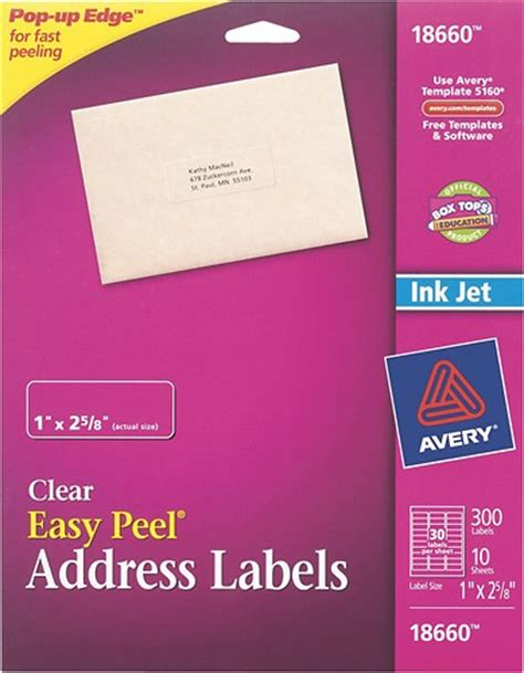 Avery Template 18660 by Avery Easy Peel Address Labels 10 Pack 18660 10 Best Buy