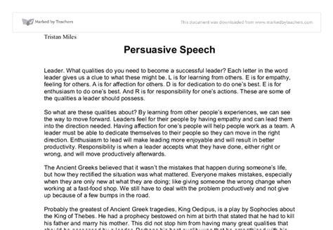 persuasive speech exle leadership persuasive speech business and