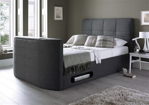 York Upholstered New Grey Tv Bed  Cool Contemporary