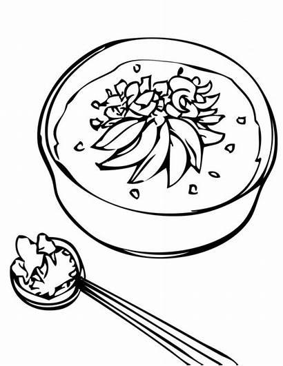 Clipart Coloring Soup Rice Porridge Pages Stone