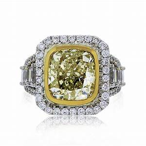 562ct fancy light yellow cushion cut diamond engagement ring With wedding rings yellow diamond