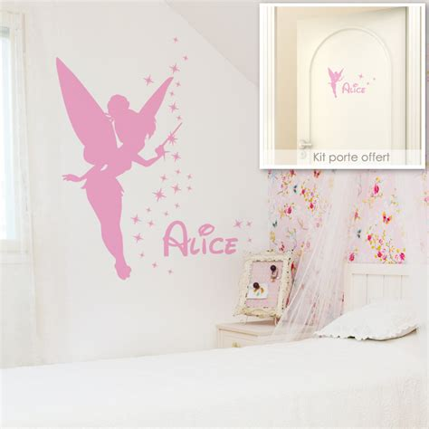 stickers chambre bebe fille fee sticker f 233 e clochette avec pr 233 nom
