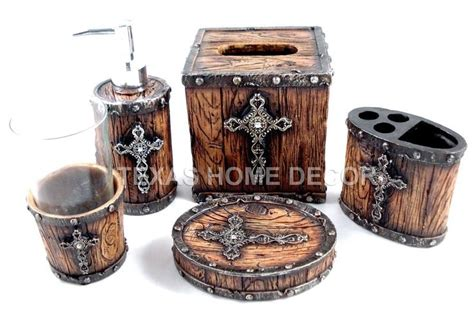 Rustic Bathroom Hardware Sets by Rustic Cross Bathroom Accessory Set 5 Pieces Faux Wood