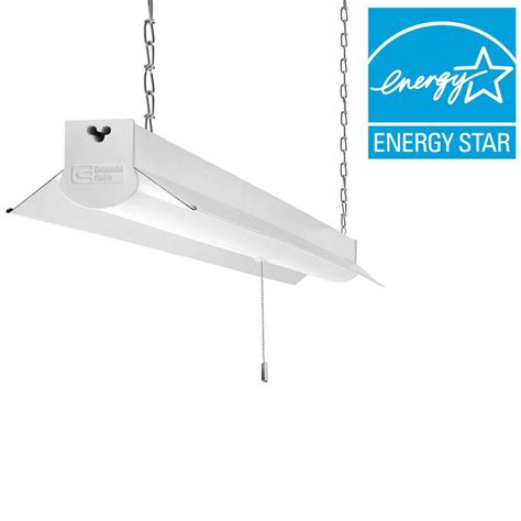 hanging led shop lights commercial electric 4 ft bright cool white integrated led