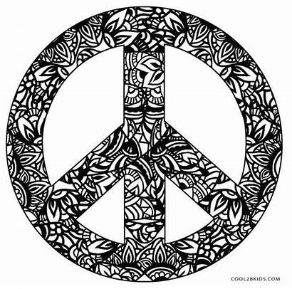 Peace Coloring Pages Sign Signs Printable Psychedelic