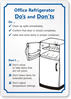 Office Kitchen Clean Up Signs by Office Refrigerator Etiquette By Mydoorsign