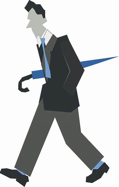 Walking Clipart Person Clip Umbrella Homme Qui