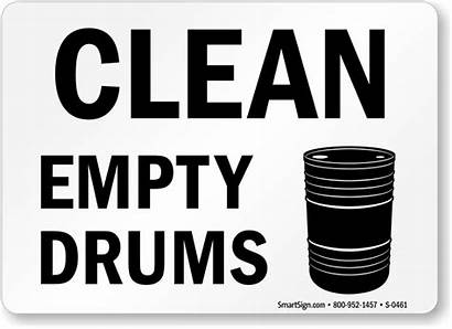 Empty Drums Sign Chemical Clean Drum Signs