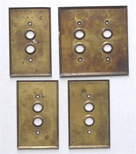 antique brass push button switch plates covers